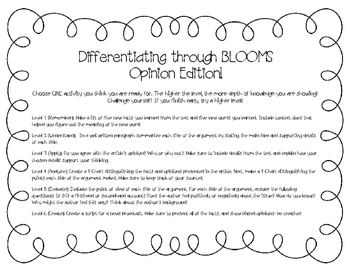Differentiation through Blooms (Opinion Edition)