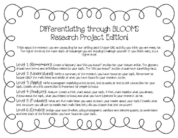 Differentiation through Blooms (Research Project Edition)