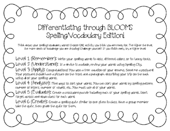 Differentiation through Blooms (Spelling/Vocabulary Edition)