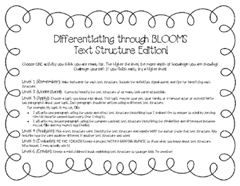 Differentiation through Blooms (Text Structure Edition)
