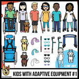 Kids with Disabilities Clip Art with Separate Equipment