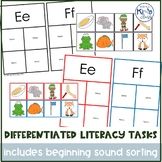 Differentiated Literacy (Letter & Phonics) Centers or Task Boxes