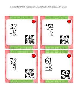 Subtraction Center with QR CODES