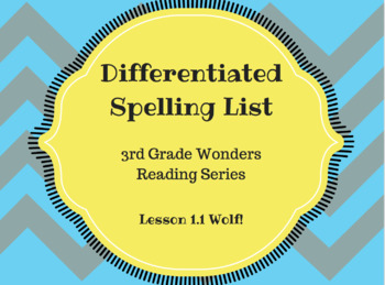 Differentiated spelling list for Wonder grade 3 lesson 1.1 Wolf!