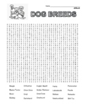 Difficult Dog Breeds Word Search with coloring  (could use in SUB PLAN?)