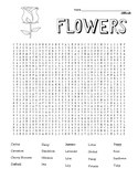 Difficult Flowers Word Search with coloring page  (could use in SUB PLAN?)