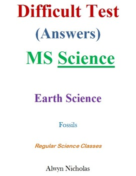 Difficult Test (Answers): MS Earth Science – Fossils (Regular)