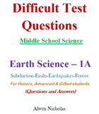 Difficult Test (Questions & Answers): MS Science - Earth Science No. 1A