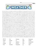 Difficult Word Search - weather terms & coloring page  (could use in SUB PLAN?)