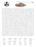 Difficult Word Search and Coloring Page - NFL Football Teams   (SUB PLAN use?)