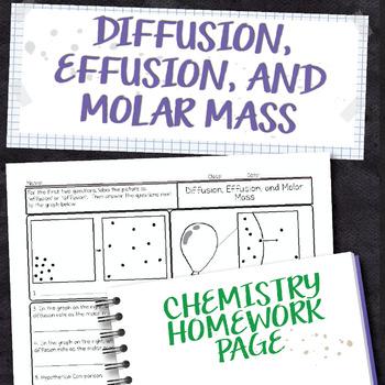 Diffusion, Effusion, and Molar Mass Chemistry Homework Worksheet