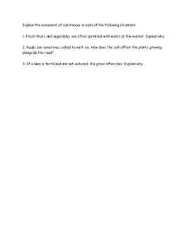 Diffusion Worksheet