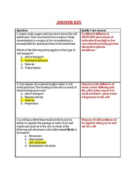 Diffusion and Osmosis Review Packet WITH ANSWER KEY!