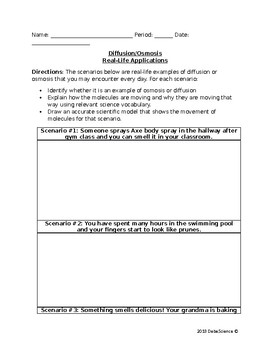Diffusion and Osmosis Scenarios - NGSS Style