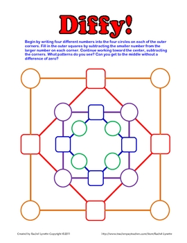 Diffy - Fun Subtraction Math Game! Use with Integers, fractions, money