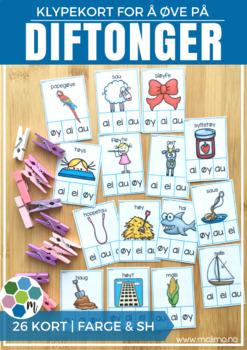 Diftonger - klypekort for øving [BM&NN]