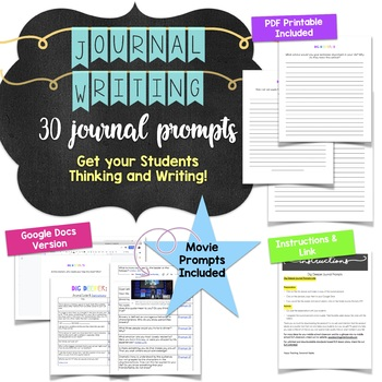 Dig Deeper Journal Prompts for Middle or High School Students ** 30 Prompts! **