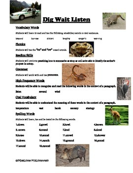 Dig Wait Listen - Weekly Skill Sheet - 2nd Grade Treasures