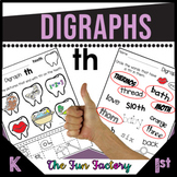 Digraph Th Activities and Worksheets, First Grade - NO PREP