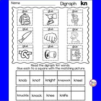 Digraph  Kn Activities and Worksheets, First Grade - NO PREP