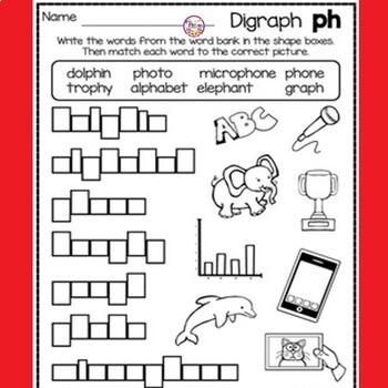 Digraph Ph Activities and Worksheets, 1st Grade- NO PREP