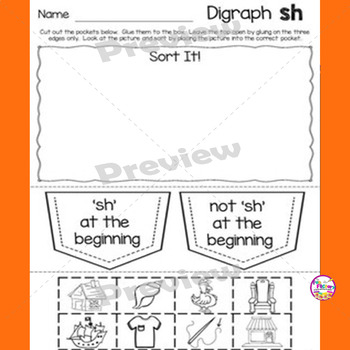 Digraph Sh Activities and Worksheets, First Grade - NO PREP
