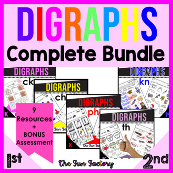 Digraph Activities BUNDLE | CH CK KN PH SH TH WH WR | Digraph Worksheets & Games