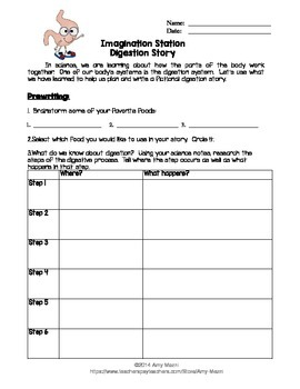 Digestion Story Writing Activity with Rubric Human Body
