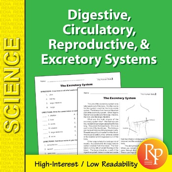Digestive, Circulatory, Reproductive, & Excretory Systems: Science Reading Comp.