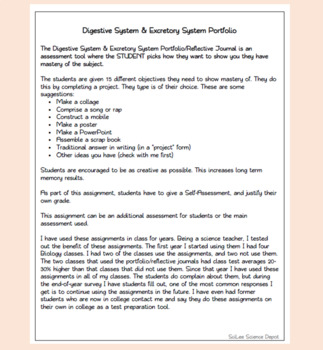 Digestive System & Excretory System: Portfolio Assessment Assignment