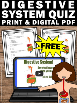 FREE Digestive Human Body Systems Video Quiz Science Distance Learning Packet