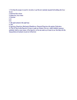Digestive System Part 1 CRASH COURSE Video Worksheet and KEY