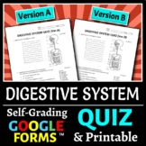 Digestive System Quiz - Two Versions {Editable}