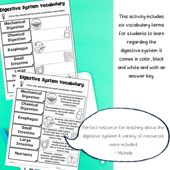 Digestive System Unit of Nonfiction Text, Sketch Notes, and Activities