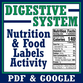 STUDENT FAVORITE!  Digestive System Food Labels Activity - NGSS MS-LS1-3