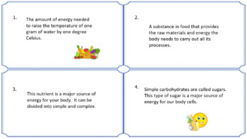Digestive System and Nutrients Vocabulary Task Cards NO PREP & FULLY EDITABLE