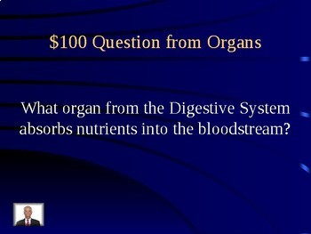 Digestive and Excretory System Jeopardy Review Game