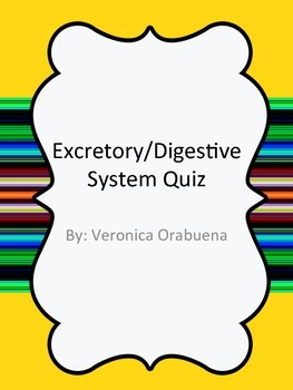 Digestive/Excretory System Quiz