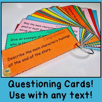 Digging Deep Into Common Core Reading!  Questioning Cards for any Text!