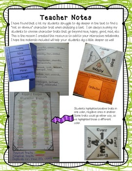 Digging Deeper Into Character Traits: Interactive Notebook Freebie