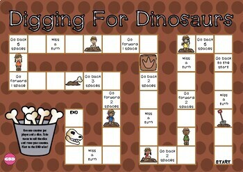 Digging for Dinosaurs Themed Game Board