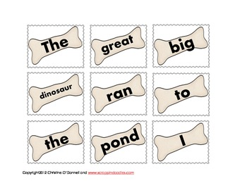 Digging for Dinosaurs: word work and sentence building activity