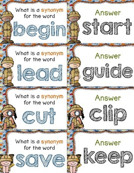 Digging for Synonyms Quiz-Quiz-Trade Cards