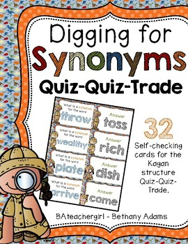 Digging for Synonyms ~ Quiz-Quiz-Trade Cards ~