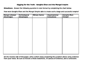 Digging for the Truth: Lost Empire of Ghengis Khan video worksheet