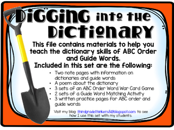 Digging into the Dictionary: Guide Words and ABC Order