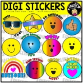 Digi Stickers Clip Art Set for Distance Learning {Educlips