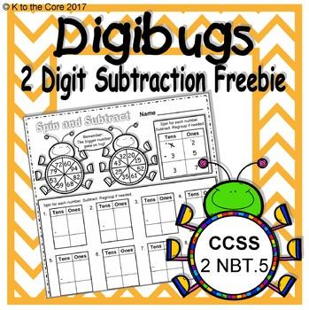 DigiBugs 2 Digit Subtraction Freebie