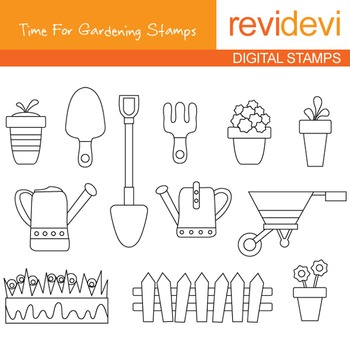 Digistamp - Time For Gardening (coloring graphic clip art) 07144