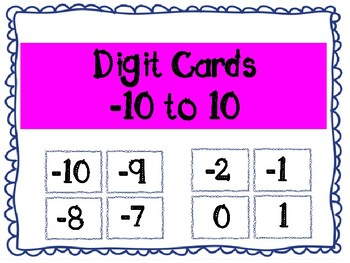 Digit Cards -10 to 10